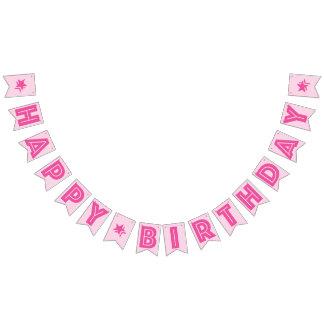 DARK PINK TEXT & LIGHT PINK COLOR ☆HAPPY BIRTHDAY☆ BUNTING