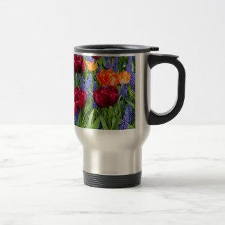 Dark Pink Tulips Stainless Steel Travel Mug