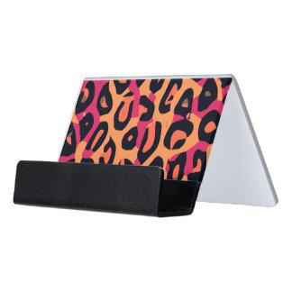 Dark Pink Yellow Orange Cheetah Abstract Desk Business Card Holder