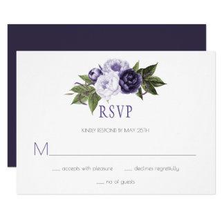 Dark Purple and Violet Peonies Wedding RSVP | Card