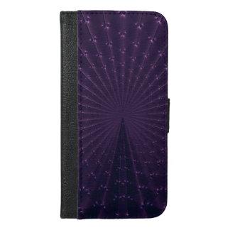 Dark Purple Fractal Peacock Feathers iPhone 6/6s Plus Wallet Case