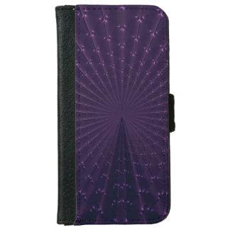 Dark Purple Fractal Peacock Feathers iPhone 6 Wallet Case