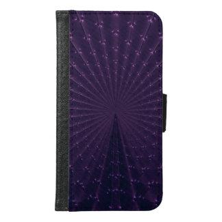 Dark Purple Fractal Peacock Feathers Samsung Galaxy S6 Wallet Case