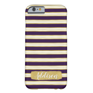Dark Purple Gold Stripe Pattern Custom Name Barely There iPhone 6 Case