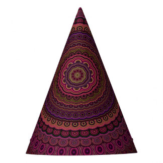 Dark purple mandala party hat