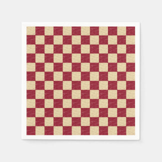 Dark Red and Beige Checkered Paper Napkins