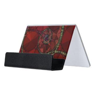 Dark Red Bling Pattern Desk Business Card Holder
