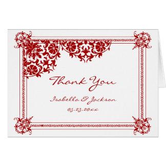 Dark Red Damask & White Wedding Note Card