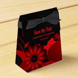 Dark Red Floral Gothic Tent With Ribbon Favor Box