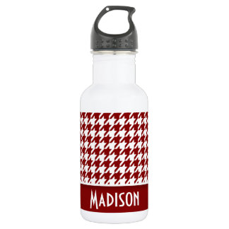 Dark Red Houndstooth; Personalized 532 Ml Water Bottle