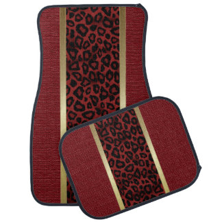 Dark Red Leopard Animal Pattern Car Mat