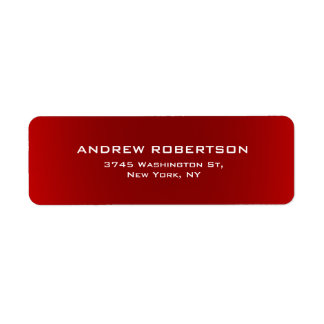 Dark Red Plain Elegant Return Address Label