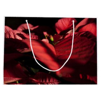 Dark Red Poinsettia Photograph On Shopping Bag