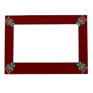 Dark Red with Colorful Owls in Corners Magnetic Frame