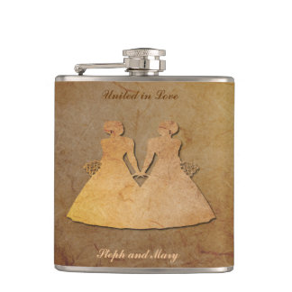 Dark Rustic Hipflask for Lesbian Brides Hip Flask