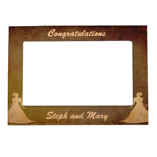 Dark Rustic Lesbian Wedding Gift Frame for Brides Magnetic Picture Frames
