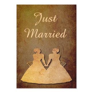 Dark Rustic Lesbian Wedding Reception Invitation
