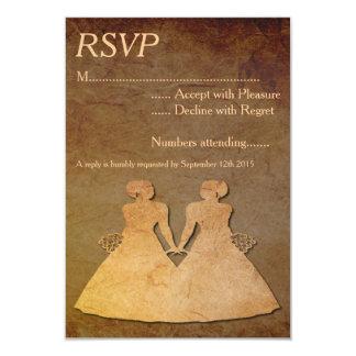 Dark Rustic Lesbian Wedding RSVP Card