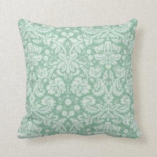 Dark Sea Green Damask Throw Cushions