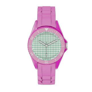 Dark Sea Green Houndstooth Wristwatch