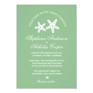 Dark sea green ocean starfish wedding invitation