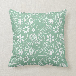 Dark Sea Green Paisley Cushion