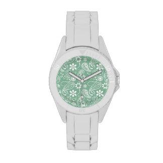 Dark Sea Green Paisley Wristwatch