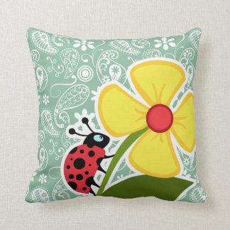 Dark Sea Green Paisley; Ladybug Cushions