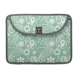 Dark Sea Green Paisley MacBook Pro Sleeves