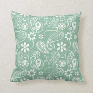 Dark Sea Green Paisley Throw Cushion