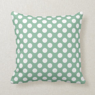Dark Sea Green Polka Dots Throw Pillows