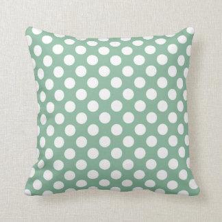 Dark Sea Green Polka Dots Throw Cushion