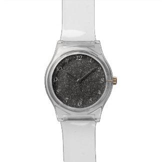 Dark Stylish Silver Grey Glitter Watch