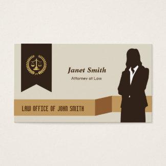 Dark Suit Lady Faux Gold Libra Laurel Lawyer Business Card