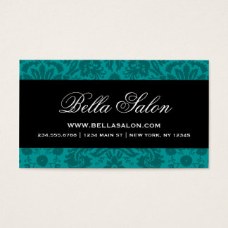 Dark Teal & Black Elegant Vintage Damask Business Card