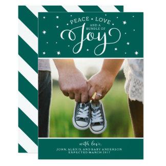 Dark Teal Christmas Pregnancy Announcement Card