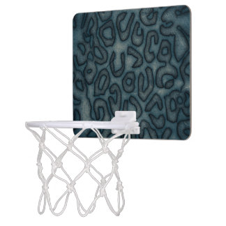 Dark Turquoise Cheetah Abstract Mini Basketball Hoop
