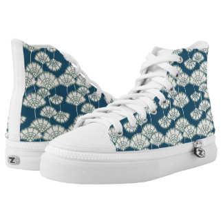 Dark turquoise gold foil floral Japanese pattern Printed Shoes