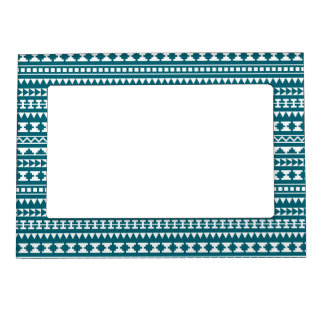 Dark Turquoise Tribal Aztec Pattern Magnetic Frame