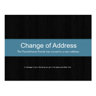 Dark Wood & Blue Change of Address Postcard