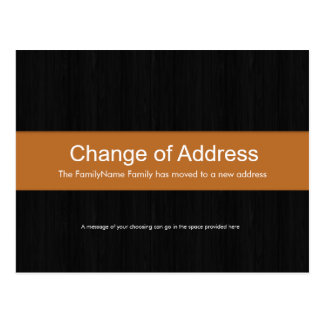 Dark Wood & Orange Change of Address Postcard