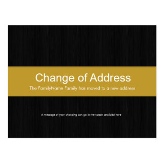 Dark Wood & Yellow Change of Address Postcard