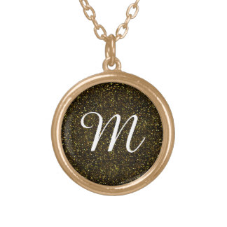 Dark Yellow Gold Glitter Gold Plated Necklace