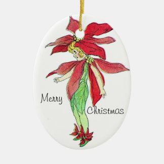 Darling Poinsettia Vintage Elf Ornament