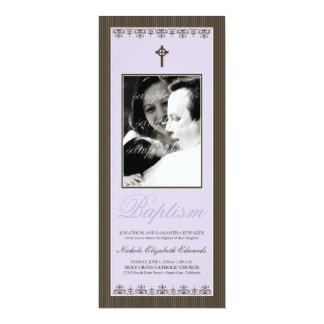 "Darling Victorian 4x9.25"" Lilac Baptism Invitation"