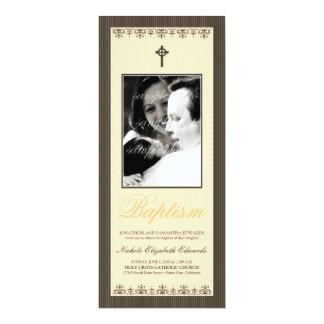 "Darling Victorian 4x9.25"" Peach Baptism Invitation"