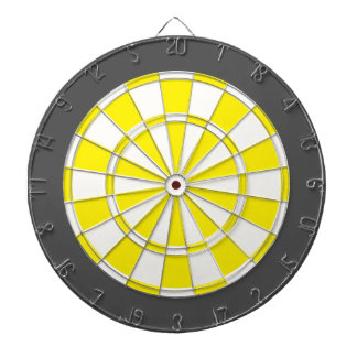Dart Board: White, Yellow, And Charcoal Gray Dart Boards