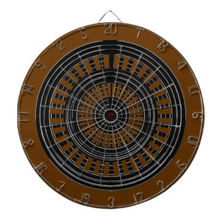 DART Chakra - Black n Silver Rounds on Brown Base Dartboard