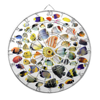 Darts board of seawater fish of tropical region dartboard with darts