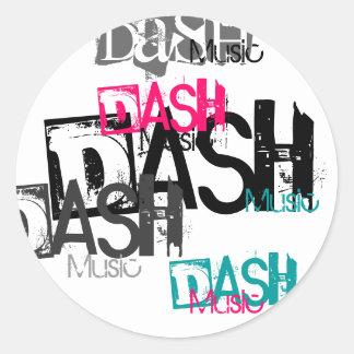 Dash, DASH, Dash, Dash, Dash, Music, Music, Mus... Classic Round Sticker